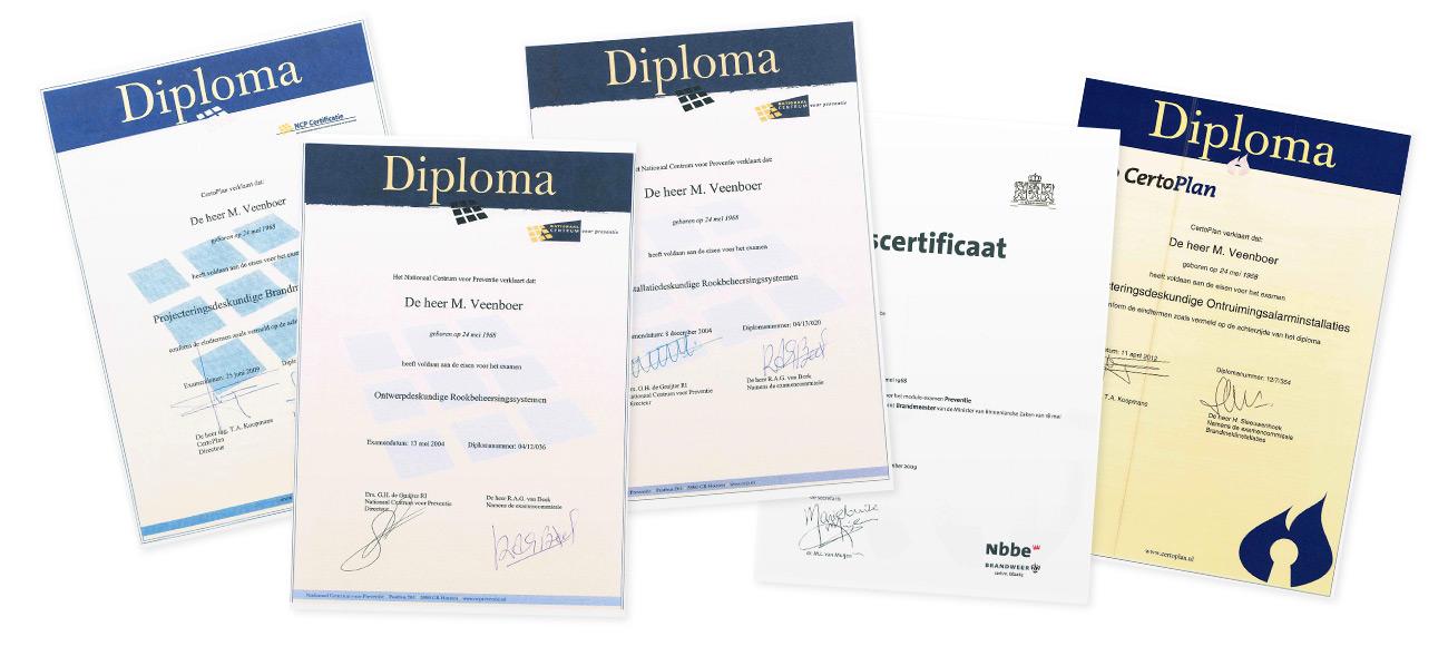 Diplomas brandveiligheid Marcel Veenboer